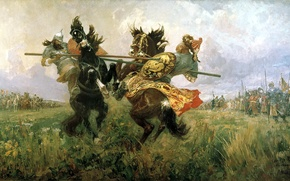 Picture oil, Canvas, Duel on the Kulikovo field, Mikhail Ivanovich Avilov, Peresvet and Chelubey