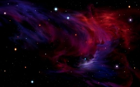 Picture nebula, red, blue