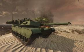 Picture desert, tank, abrams, m1a1, armored warfare
