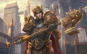Picture weapons, armor, warrior, helmet, fortress, fantastic. art
