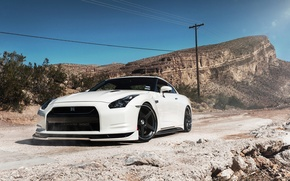 Picture nissan, white, wheels, japan, jdm, tuning, gtr, front, speed, face, racing, r35, nismo