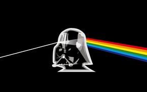 Wallpaper Dark Side, rainbow, Pink Floyd, star wars, black