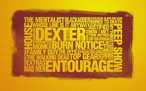 Wallpaper style, lie to me, the walking dead, the office, blackadder, man vs. wild, extras, series, ...