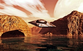 Picture sky, water, flight, clouds, spaceship, planet, splashdown
