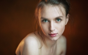 Picture girl, green eyes, photo, brown, model, lips, face, portrait, mouth, simple background, bare shoulders, Victoria …