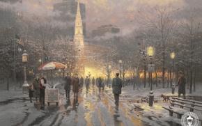Wallpaper winter, snow, city, lights, Park, building, flag, USA, USA, painting, Boston, megapolis, art, dog, Boston, ...