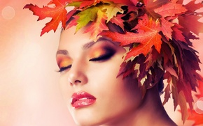 Picture autumn, leaves, girl, face, makeup, wreath