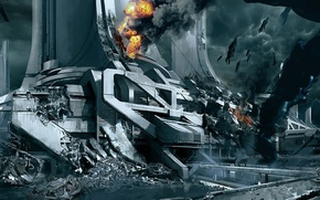 Picture the city, fire, smoke, ships, ruins, mass effect 3, the reapers, concept art, thessia