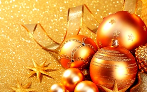 Picture glare, holiday, balls, toys, New year, stars, shiny, ribbon, Golden, glitter