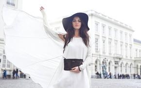 Picture girl, city, street, the building, hat, dress, brunette, handbag, white, black, people, bokeh, Aurela Skandaj