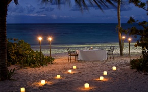 Picture beach, the ocean, romance, the evening, candles, beach, ocean, sunset, view, romantic, dinner, dinner