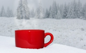 Picture winter, snow, landscape, nature, coffee, Cup