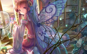 Wallpaper butterfly, flowers, smile, table, room, wings, window, art, girl, book, touhou, sitting, hakurei reimu, sanntouhei