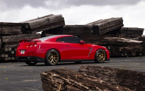 Picture red, red, Nissan, GT-R, sports car, Nissan, rearside