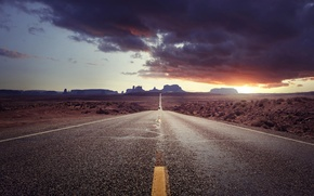Picture road, landscape, sunset, mountains, Avenue of monumenal