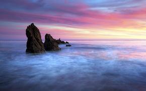 Picture sea, landscape, sunset, nature
