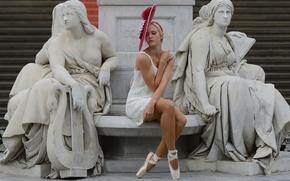 Picture stylish, hat, ballerina, statues, sculpture
