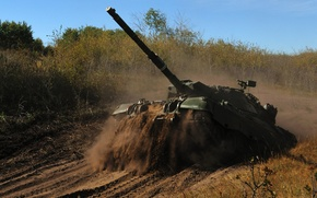 Picture road, dirt, tank, combat, canadian, Leopard-C2