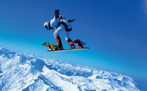 Picture winter, the sky, snow, mountains, parachute, container, skydivers, extreme sports, parachuting, skysurfing