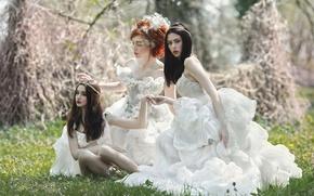 Picture fantasy, art, three girls, Agnieszka Lorek, Romantic day