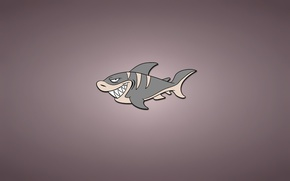 Picture minimalism, fish, shark, light background, shark, fish