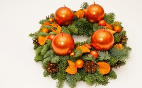Picture candles, New Year, Branches, Balls, Spruce, garland, Bumps, White Background