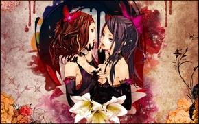 Picture flowers, girls, feelings