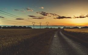 Picture road, the sky, clouds, sunset, house, hills, field, horizon, silhouette, power lines, farm