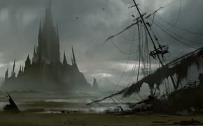 Picture castle, ship, island