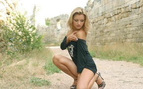 Picture road, grass, wall, Girl, t-shirt