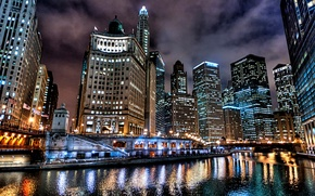 Picture night, the city, lights, Chicago, USA