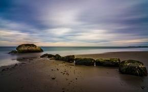 Picture sea, the sky, stones, shore, the evening, tide
