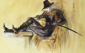 Picture table, graphics, sword, hat, boots, chair, cloak, sitting, color, hunter, art, Yoshi Want Amano, Vampire …