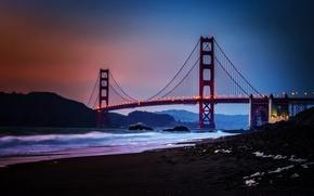 Picture City, Nature, Sky, Bridge, Water, Sunset, San Francisco, Golden, Sand, Ocean, Scenic, Gate, Baker