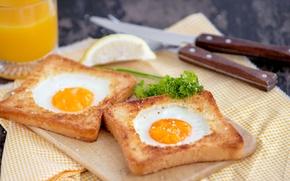 Picture eggs, Breakfast, scrambled eggs, toast, toast