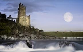 Picture landscape, castle, the moon, Tyrolian Highlands