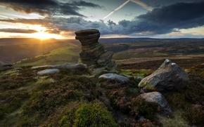 Picture landscape, sunset, stones