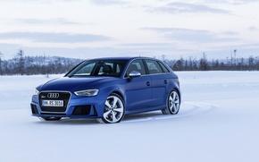 Picture photo, Audi, Blue, Snow, Car, Sportback, RS3, 2015, Metallic
