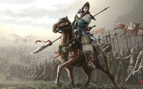 Picture flags, weapons, horse, art, armor, girl, fiction, warriors