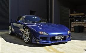 Picture car, blue, Mazda, Mazda, bumper, blue, jdm, rx7, kit, blue car, justin sung, Canary