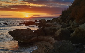 Picture sea, the sun, sunset, stones, Crimea