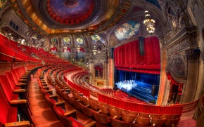 Picture light, red, scene, chairs, beauty, Chicago, drawings, Theatre
