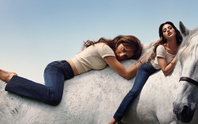 Wallpaper women, girl, model, horse