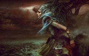 Picture girl, fantasy, wolf, art, piotr ruszkowski