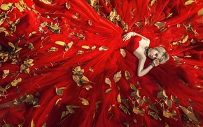 Wallpaper leaves, girl, face, red, dress, lies