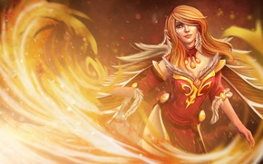 Picture Girl, Fire, Red, Dota 2, Lina
