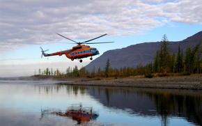 Picture forest, reflection, mountains, lake, Helicopter, Mi-8