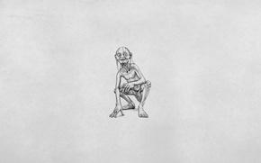 Picture minimalism, white background, Gollum, The Lord of the rings, The Lord of the Rings, Gollum