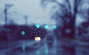 Picture glass, drops, macro, lights, rain