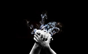 Picture smoke, hands